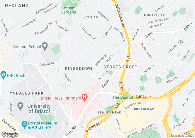 Map for Kingsdown, Central Bristol