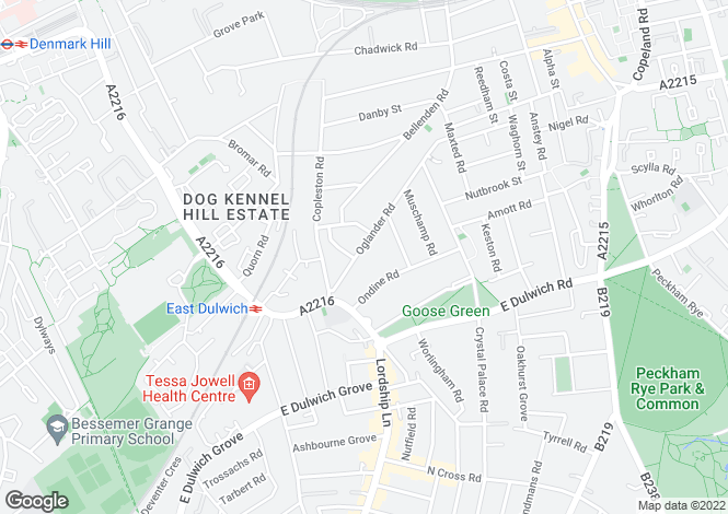 Map for Oglander Road, East Dulwich, SE15