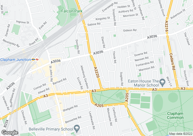 Map for Elspeth Road, London SW11