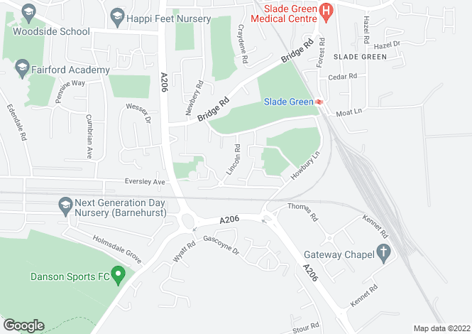 Map for Slade Green, Kent