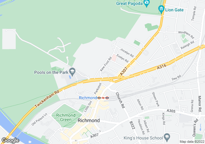 Map for Kew Foot Road, Richmond, TW9