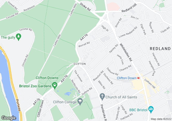 Map for Downside Road, Clifton, Bristol, BS8