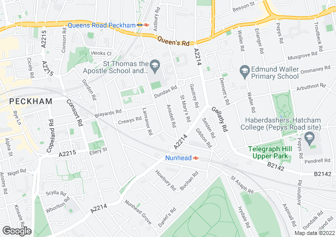 Map for Ansdell Road, Nunhead, SE15