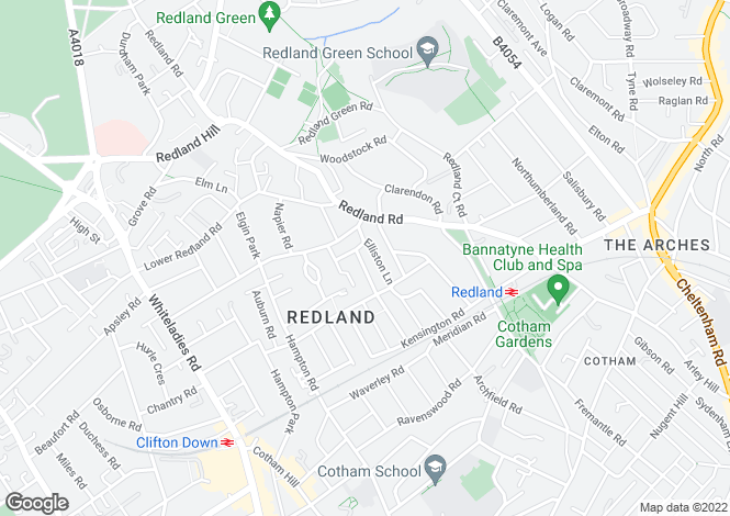 Map for 2, Elliston Road, Redland, Bristol