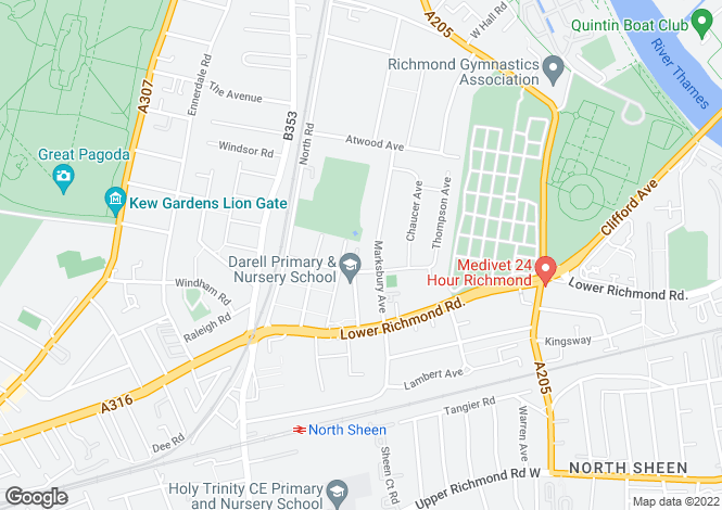 Map for Hester Terrace, Kew, TW9