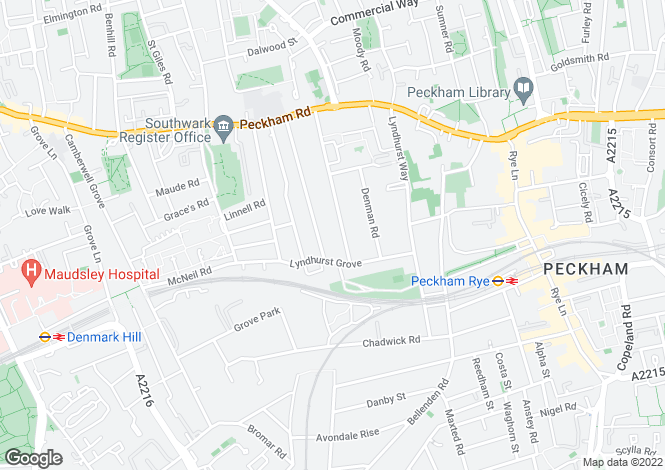 Map for Talfourd Road, Peckham, SE15