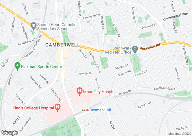 Map for Camberwell Grove SE5