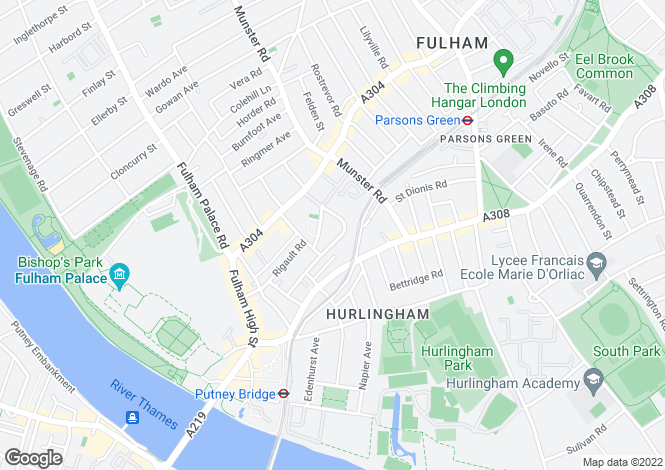 Map for Fulham Park Gardens, SW6