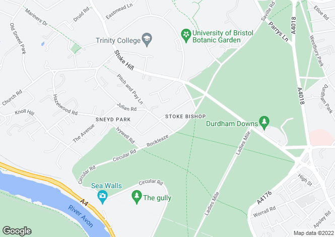 Map for Downleaze, Sneyd Park, Bristol