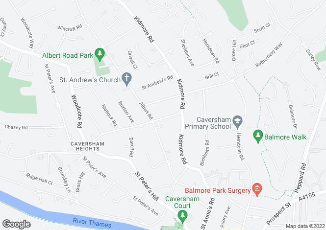 Map for Caversham Heights