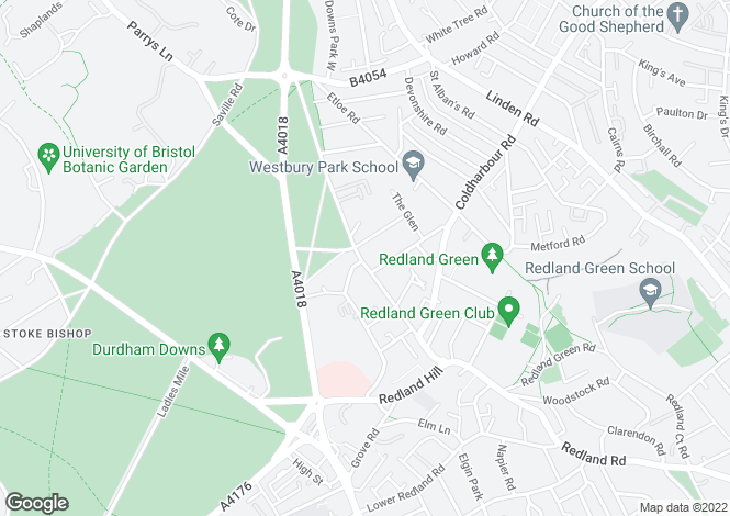 Map for Redland Road, Redland, Bristol