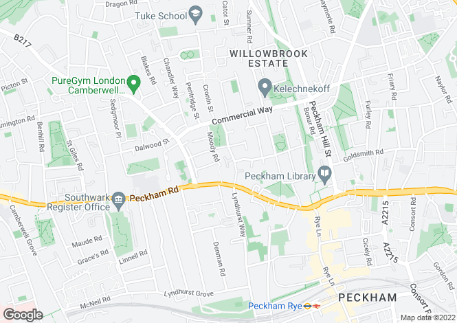 Map for Kelly Avenue, Peckham, SE15