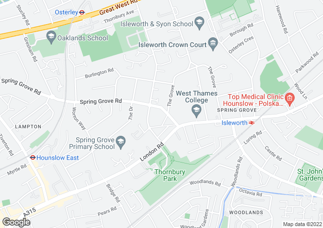 Map for Spring Grove Road, Isleworth