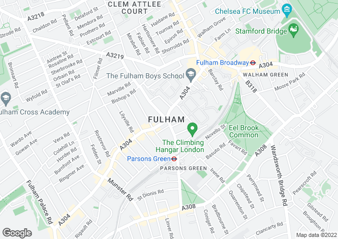 Map for Fulham Road, Parsons Green