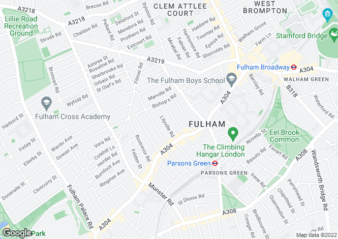 Map for Winchendon Road, Parsons Green/Fulham, London, SW6