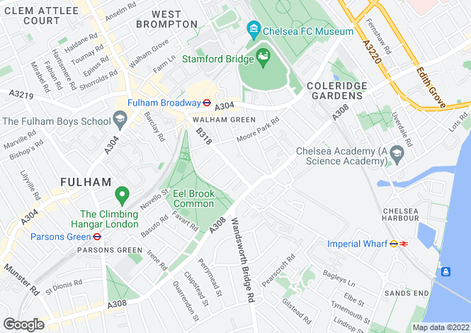 Map for Harwood Road, Fulham, SW6