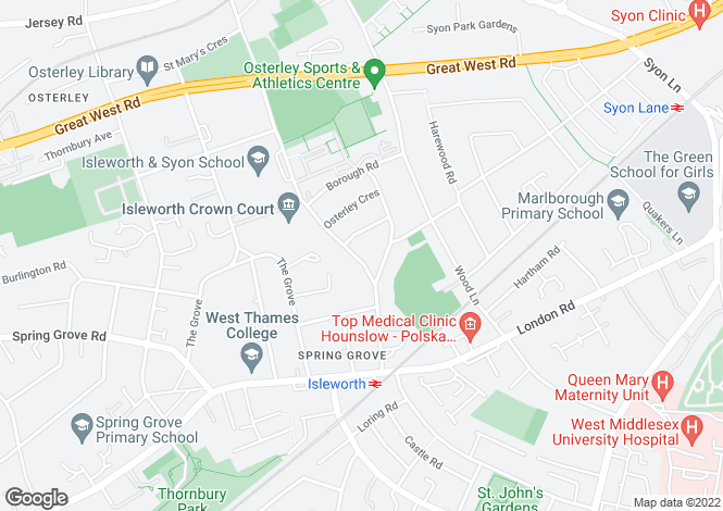 Map for Ridgeway Road, Isleworth, TW7