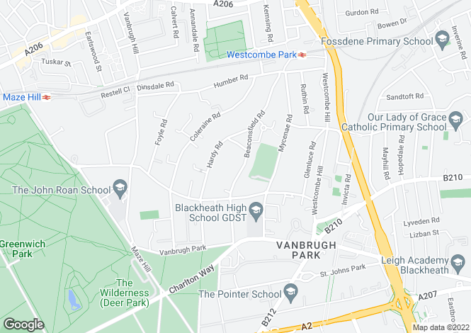Map for Beaconsfield Road, Blackheath, SE3