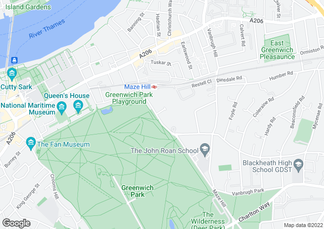 Map for Maze Hill, Greenwich, London , SE10
