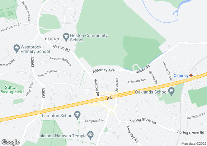 Map for Alderney Avenue,  Osterley /  Heston