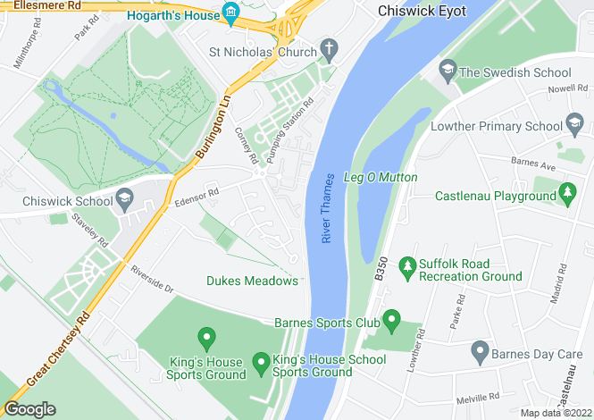 Map for Thames Crescent, London, W4