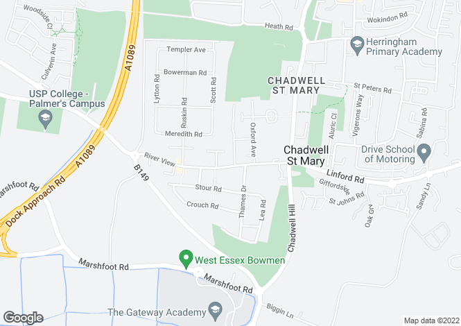 Map for Riverview, Chadwell St. Mary, Essex