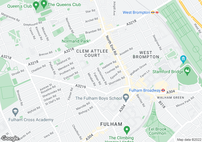 Map for Hartismere Road, Fulham, SW6