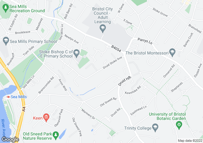 Map for Druid Stoke Avenue, Stoke Bishop, Bristol, BS9