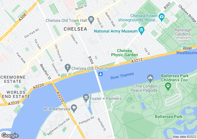 Map for Ermintrude, Cadogan Pier, Chelsea, SW3
