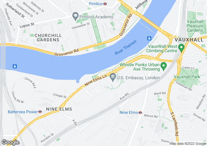 Map for Nine Elms Lane, Vauxhall