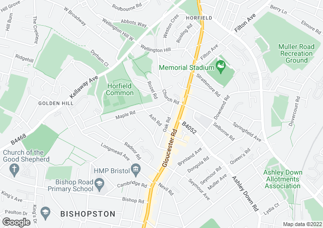 Map for Elm Road, Horfield, Bristol