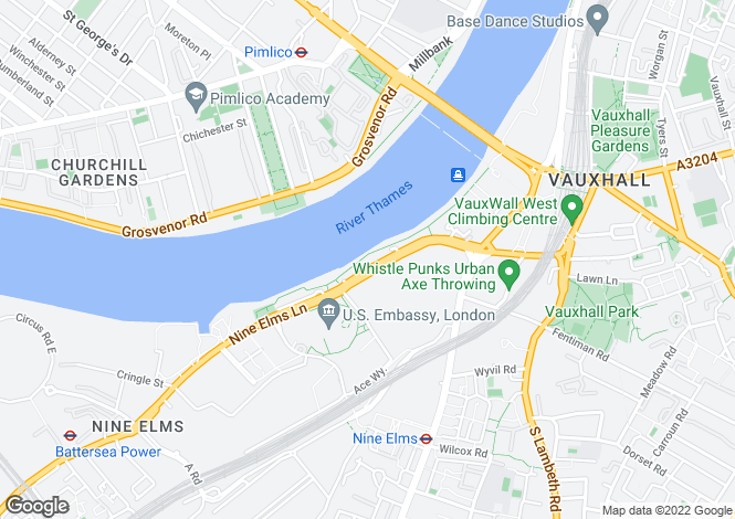 Map for Riverside Court, Vauxhall
