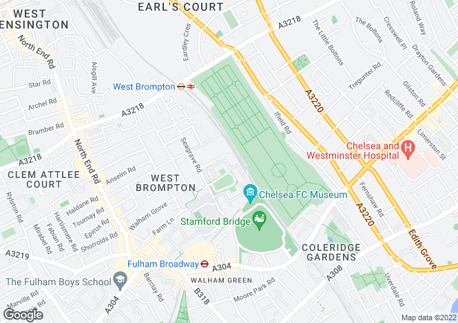 Map for Brompton Park Crescent, Fulham Broadway