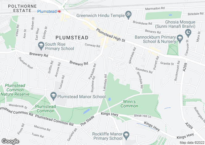 Map for Lakedale Road, Plumstead, SE18