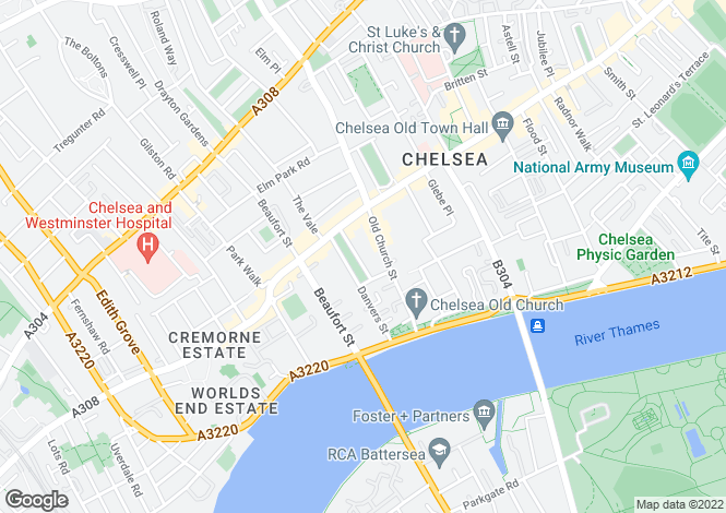 Map for Paultons Square, Chelsea, London, SW3