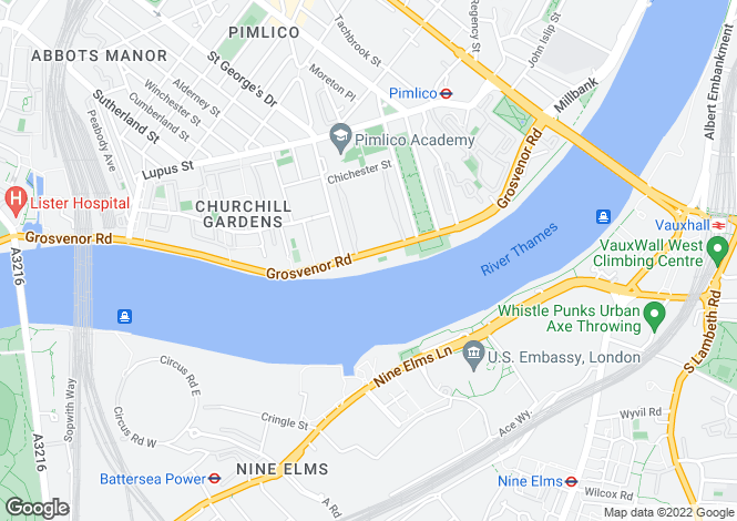 Map for River Lodge, Grosvenor Road, London, SW1V