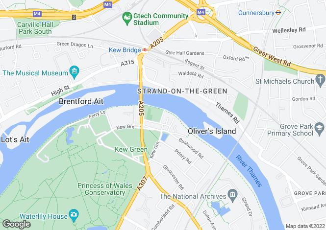 Map for Thetis Terrace, Kew, Richmond, Surrey, TW9