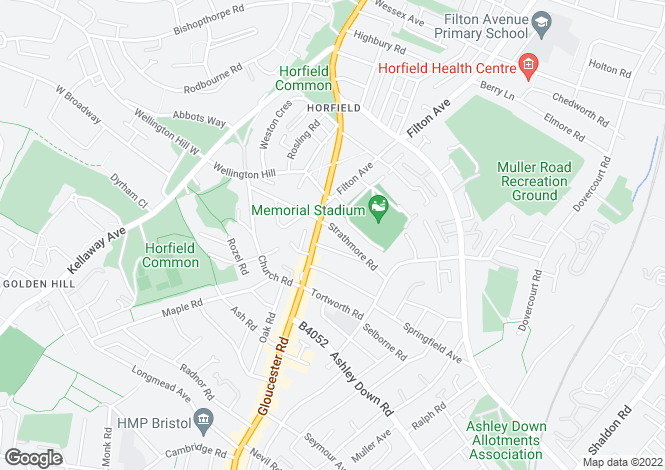 Map for Strathmore Road, Horfield