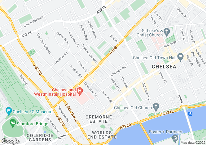 Map for Beaufort Street, Chelsea, London, SW3