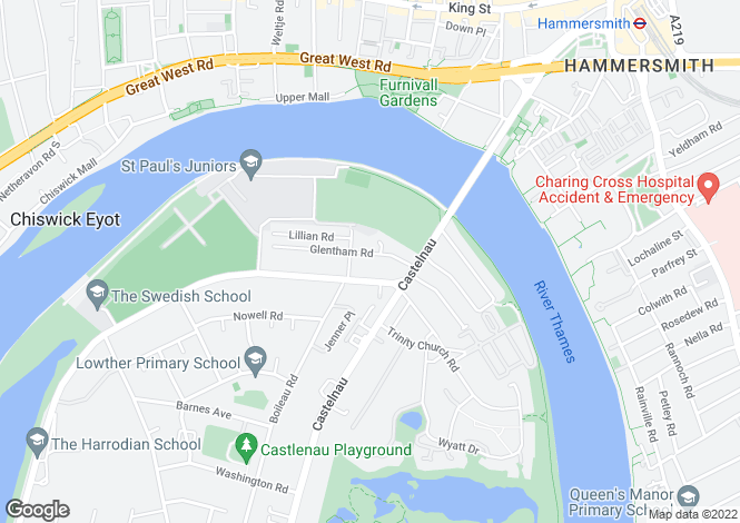 Map for Glentham Road, Barnes, SW13