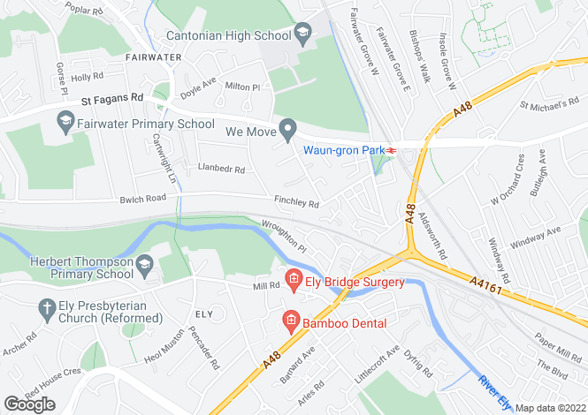 Map for Finchley Road, Fairwater