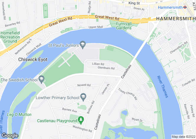 Map for Glentham Road, Barnes, London SW13 9JJ