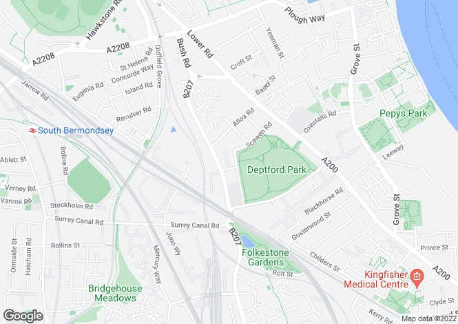 Map for Scawen Road Deptford