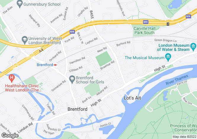 Map for Brook Road South, Brentford