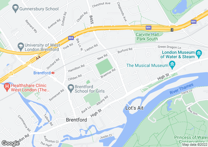 Map for Braemar Road, Brentford