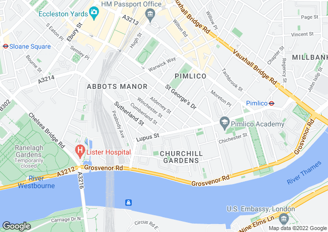 Map for Gloucester Street, London, SW1V