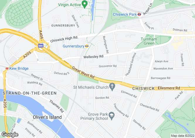 Map for Grosvenor Road, Chiswick