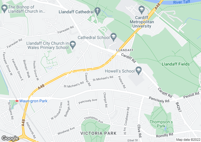 Map for Western Avenue, Llandaff, Cardiff