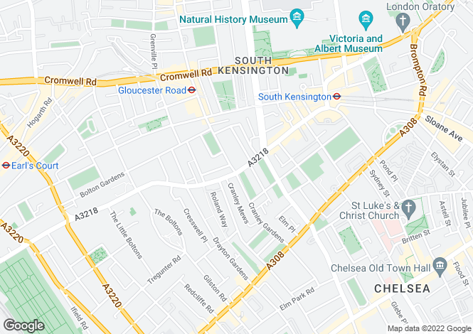 Map for Old Brompton Road, South Kensington, SW7
