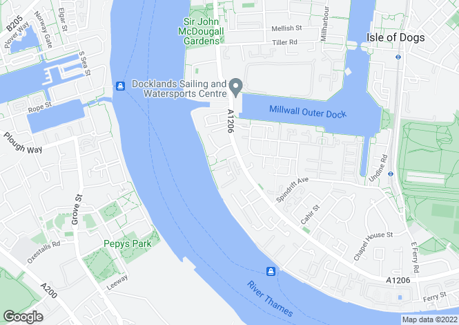 Map for Homer Drive, Cyclops Wharf, LONDON